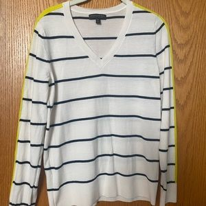 Banana Republic V-Neck Striped Sleeve Sweater